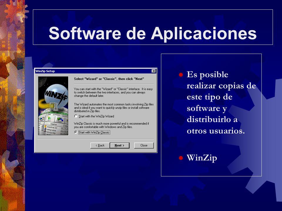 Software de Aplicaciones Es posible realizar copias de este tipo de software y distribuirlo a otros usuarios. WinZip
