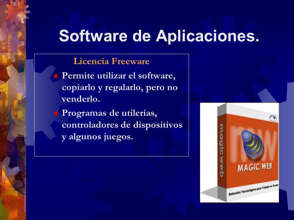 Software de Aplicaciones. Licencia Freeware Permite utilizar el software, copiarlo y regalarlo, pero no venderlo. Programas de utilerías, controladore