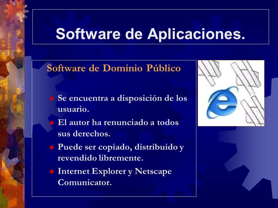 Software de Aplicaciones. Software de Dominio Público Se encuentra a disposición de los usuario. El autor ha renunciado a todos sus derechos. Puede se