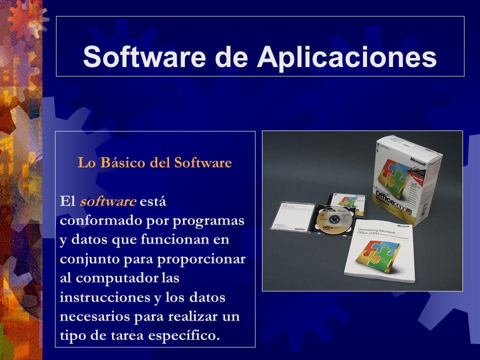 Software de Aplicaciones Lo Básico del Software El software está conformado por programas y datos que funcionan en conjunto para proporcionar al compu