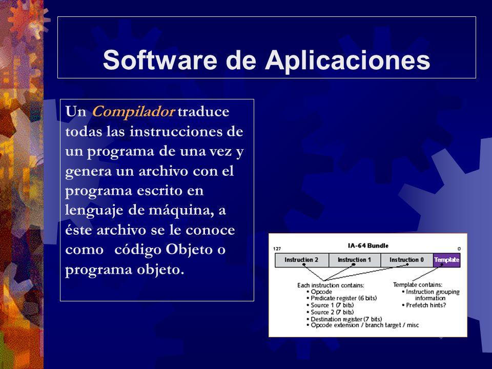 Software de Aplicaciones Un Compilador traduce todas las instrucciones de un programa de una vez y genera un archivo con el programa escrito en lengua
