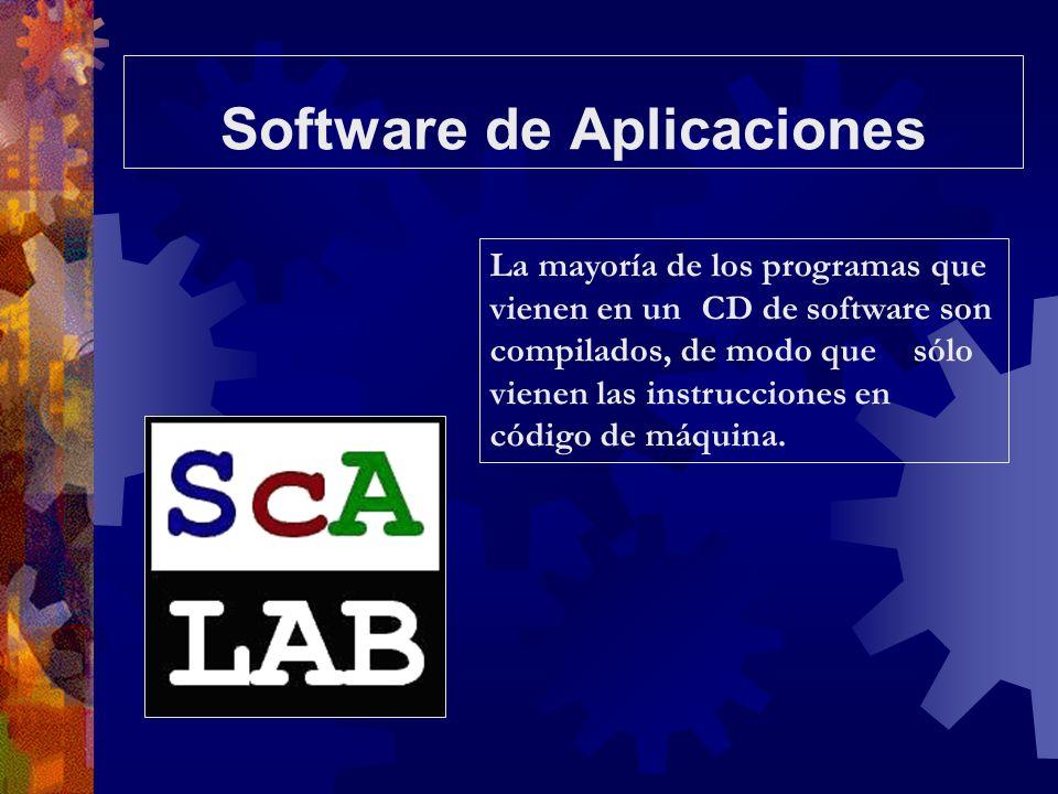 Software de Aplicaciones La mayoría de los programas que vienen en un CD de software son compilados, de modo que sólo vienen las instrucciones en códi