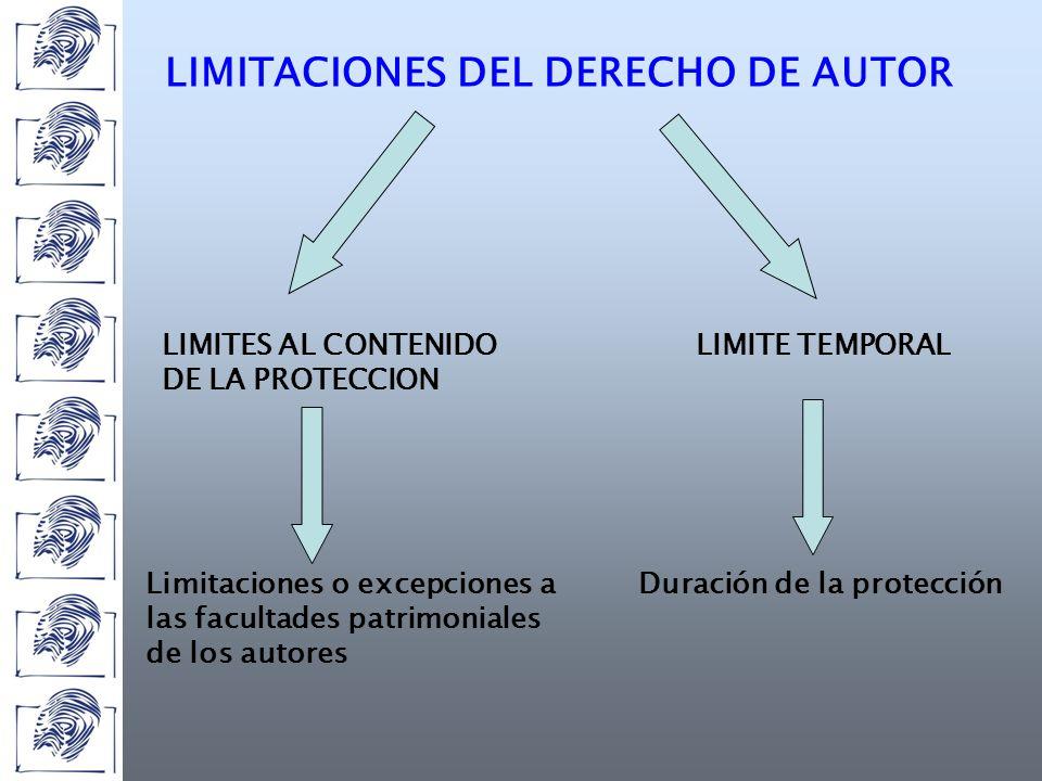 LIMITACIONES DEL DERECHO DE AUTOR LIMITES AL CONTENIDO DE LA PROTECCION LIMITE TEMPORAL Limitaciones o excepciones a las facultades patrimoniales de los autores Duración de la protección