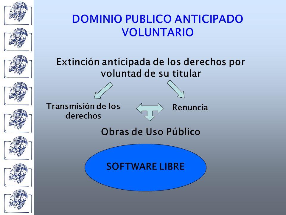DOMINIO PUBLICO ANTICIPADO VOLUNTARIO Extinción anticipada de los derechos por voluntad de su titular Transmisión de los derechos Renuncia SOFTWARE LIBRE Obras de Uso Público