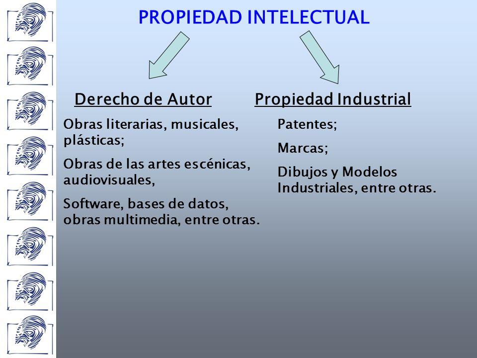 PROPIEDAD INTELECTUAL Derecho de AutorPropiedad Industrial Obras literarias, musicales, plásticas; Obras de las artes escénicas, audiovisuales, Software, bases de datos, obras multimedia, entre otras.