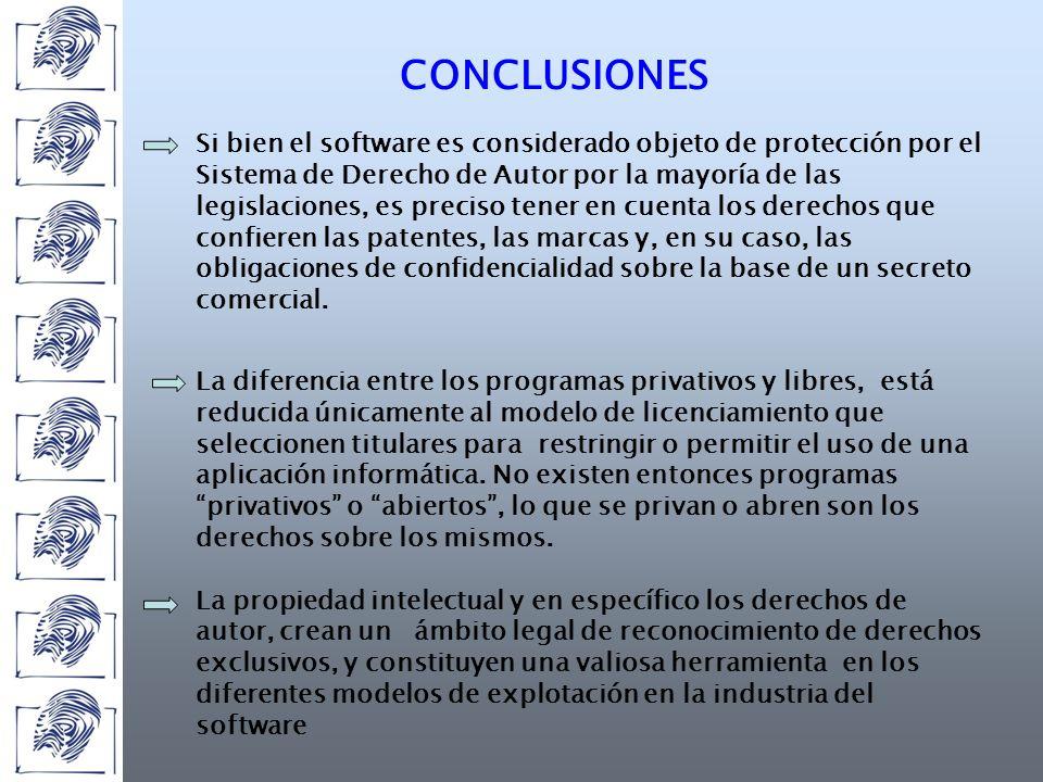 CONCLUSIONES La diferencia entre los programas privativos y libres, está reducida únicamente al modelo de licenciamiento que seleccionen titulares para restringir o permitir el uso de una aplicación informática.