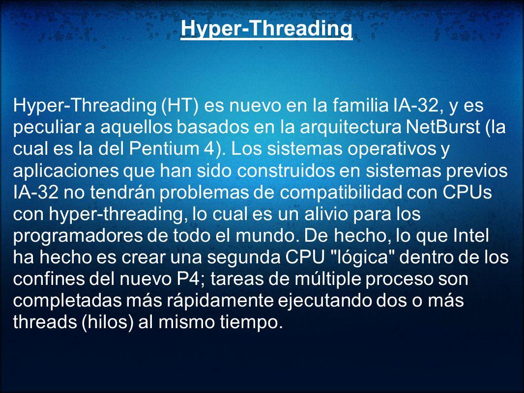 Hyper-Threading para juegos y vídeo El procesador Intel® Pentium® Extreme Edition combina la tecnología HT con el procesamiento de doble núcleo para ofrecer PCs capaces de gestionar cuatro subprocesos de software.