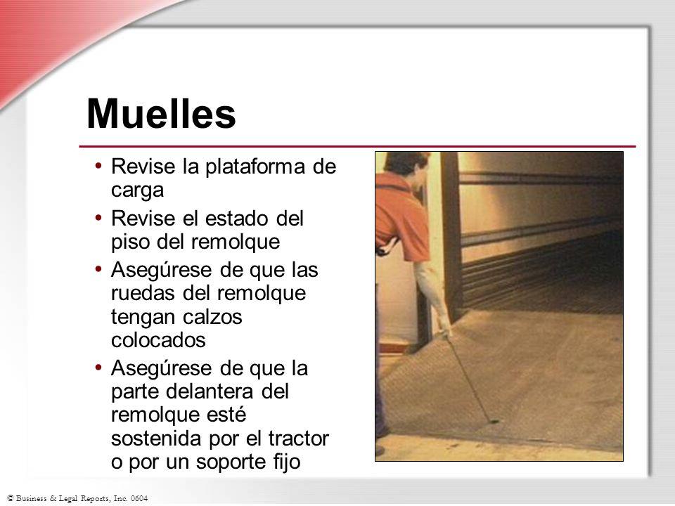 © Business & Legal Reports, Inc. 0604 Muelles Revise la plataforma de carga Revise el estado del piso del remolque Asegúrese de que las ruedas del rem