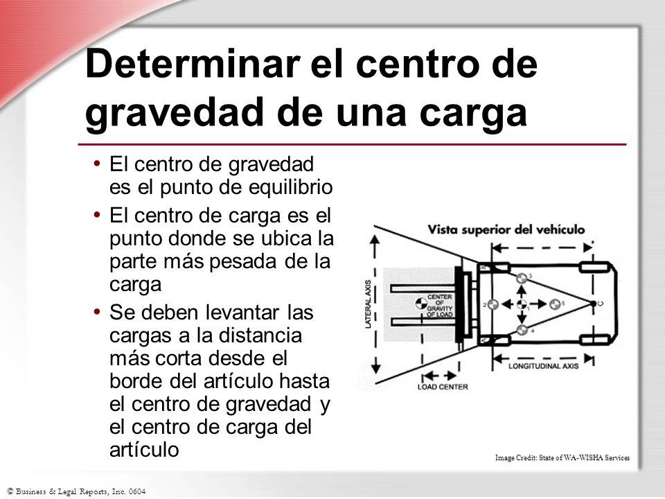 © Business & Legal Reports, Inc. 0604 Determinar el centro de gravedad de una carga El centro de gravedad es el punto de equilibrio El centro de carga