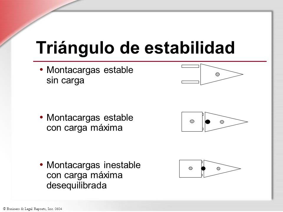© Business & Legal Reports, Inc. 0604 Triángulo de estabilidad Montacargas estable sin carga Montacargas estable con carga máxima Montacargas inestabl