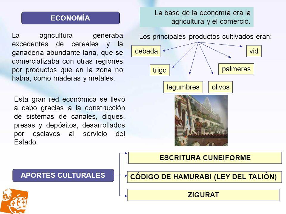 ECONOMÍA APORTES CULTURALES La agricultura generaba excedentes de cereales y la ganadería abundante lana, que se comercializaba con otras regiones por