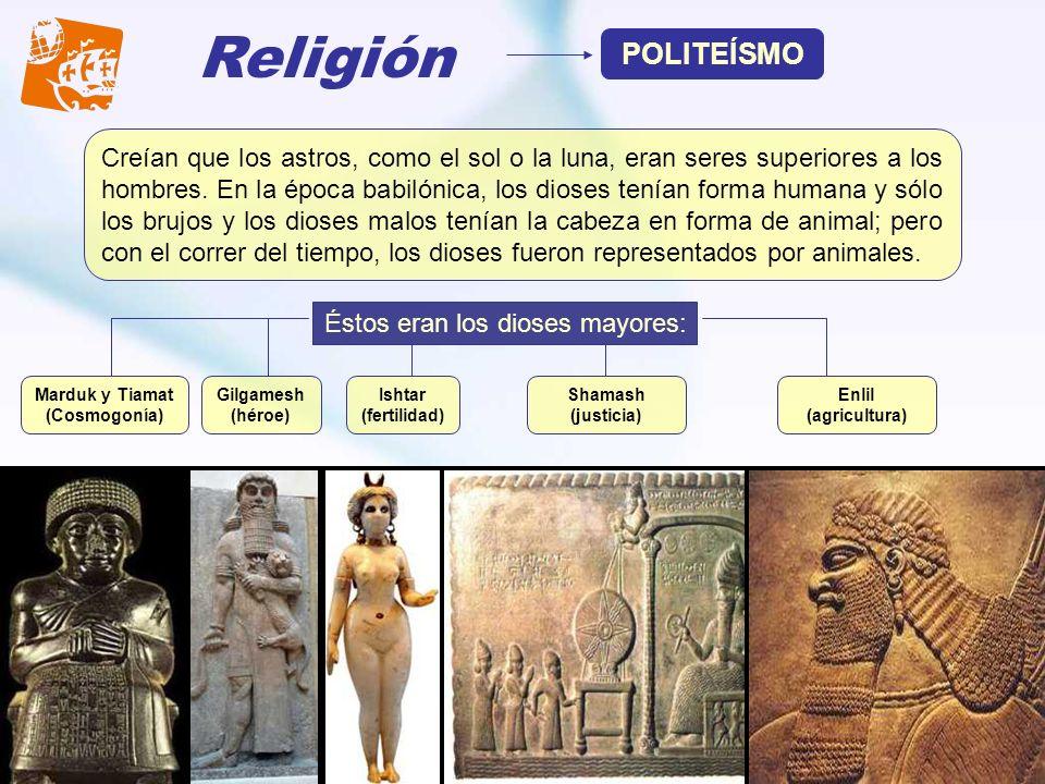 Religión POLITEÍSMO Creían que los astros, como el sol o la luna, eran seres superiores a los hombres. En la época babilónica, los dioses tenían forma