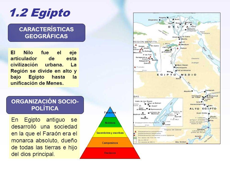 1.2 Egipto El Nilo fue el eje articulador de esta civilización urbana. La Región se divide en alto y bajo Egipto hasta la unificación de Menes. CARACT
