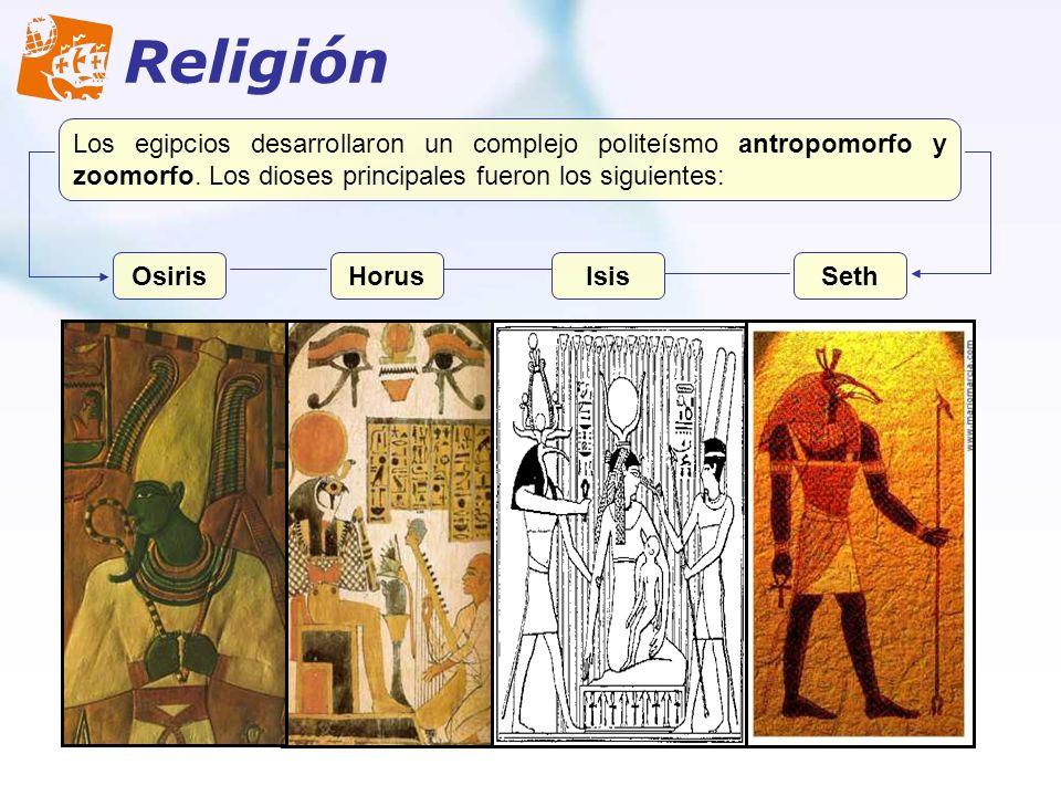 Religión Los egipcios desarrollaron un complejo politeísmo antropomorfo y zoomorfo. Los dioses principales fueron los siguientes: OsirisHorusIsisSeth