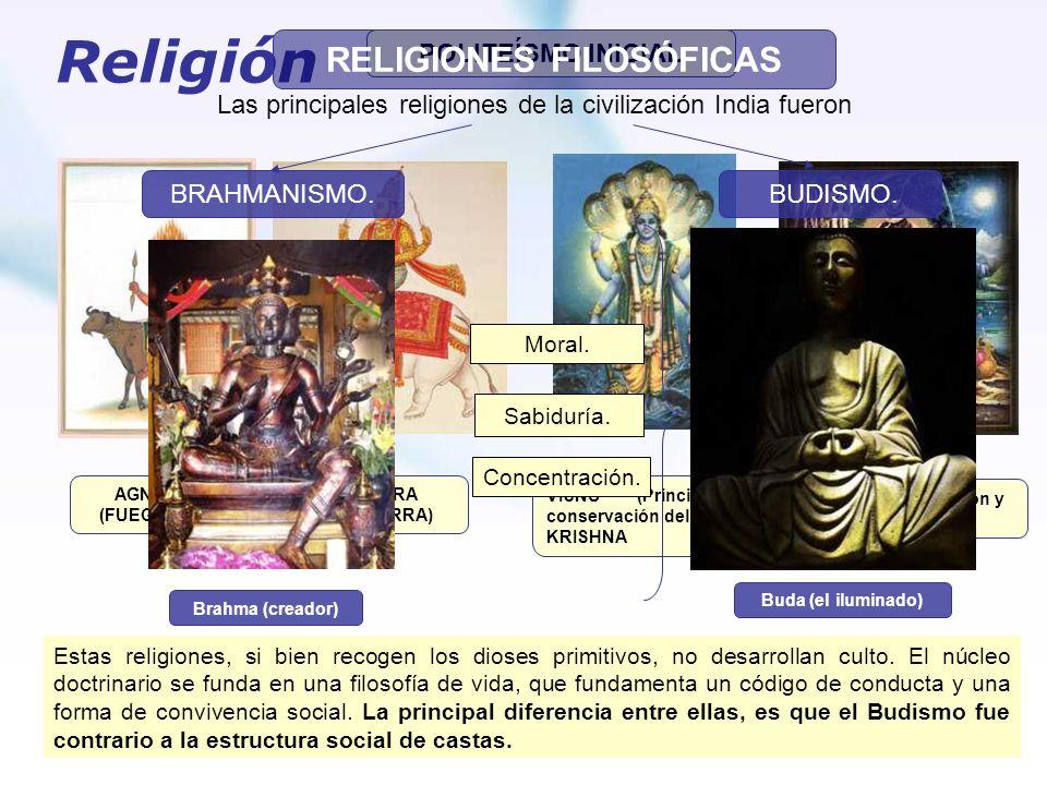 Religión POLITEÍSMO INICIAL SHIVA (Procreación y destrucción) VISNU (Principio de conservación del mundo) y KRISHNA INDRA (GUERRA) AGNI (FUEGO) Estas