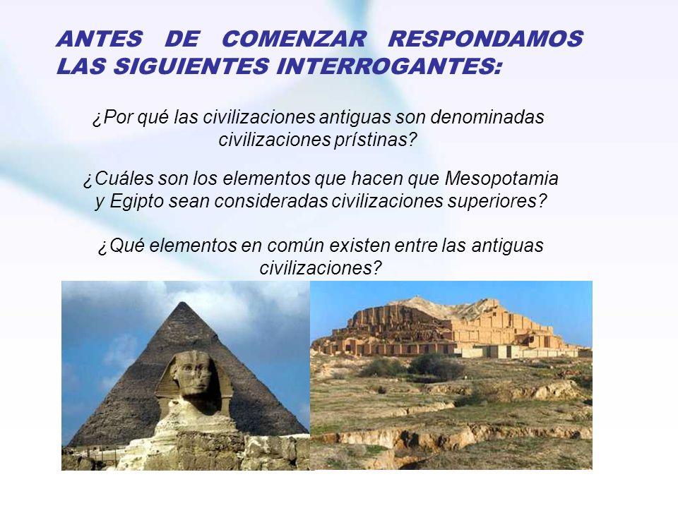 ANTES DE COMENZAR RESPONDAMOS LAS SIGUIENTES INTERROGANTES: ¿Por qué las civilizaciones antiguas son denominadas civilizaciones prístinas? ¿Cuáles son