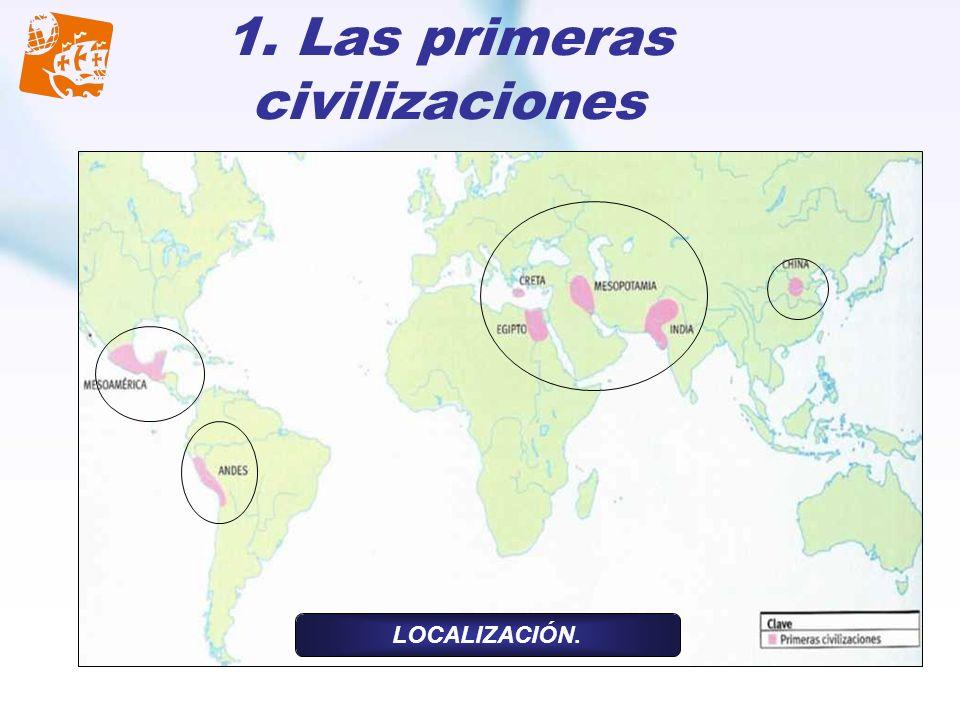 1. Las primeras civilizaciones LOCALIZACIÓN.