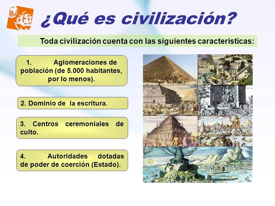 ¿Qué es civilización? 1.Aglomeraciones de población (de 5.000 habitantes, por lo menos). 2. Dominio de la escritura. 3. Centros ceremoniales de culto.