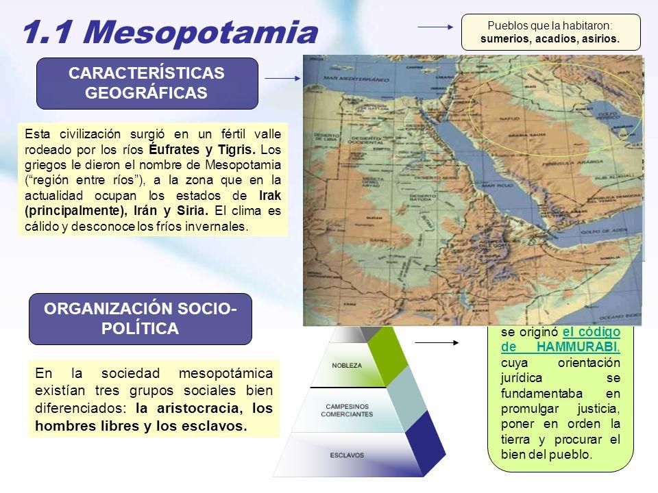 1.1 Mesopotamia CARACTERÍSTICAS GEOGRÁFICAS ORGANIZACIÓN SOCIO- POLÍTICA Esta civilización surgió en un fértil valle rodeado por los ríos Éufrates y T