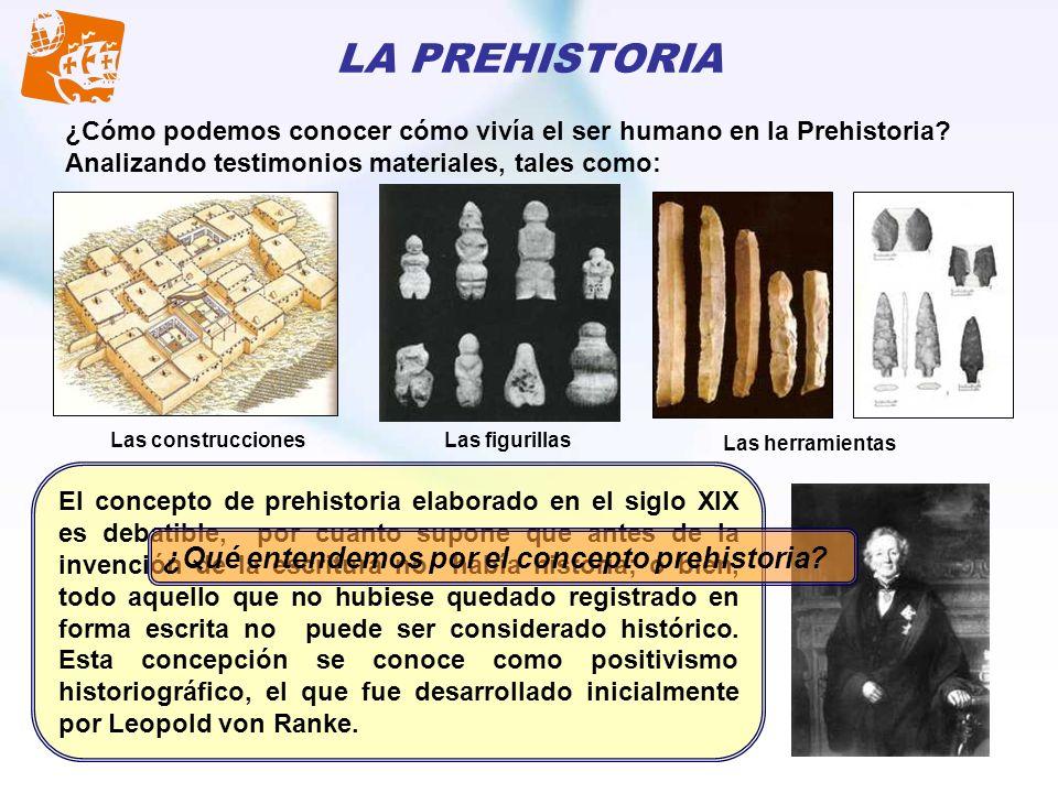 LA PREHISTORIA ¿Cómo podemos conocer cómo vivía el ser humano en la Prehistoria? Analizando testimonios materiales, tales como: Las construccionesLas