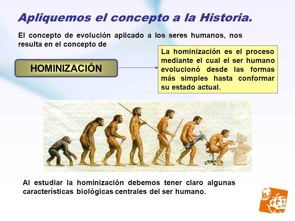 Apliquemos el concepto a la Historia. El concepto de evolución aplicado a los seres humanos, nos resulta en el concepto de La hominización es el proce