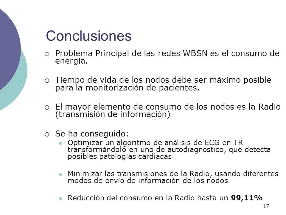 17 Conclusiones Problema Principal de las redes WBSN es el consumo de energ í a. Tiempo de vida de los nodos debe ser m á ximo posible para la monitor