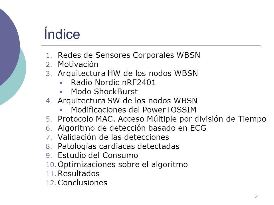 2 1. Redes de Sensores Corporales WBSN 2. Motivación 3. Arquitectura HW de los nodos WBSN Radio Nordic nRF2401 Modo ShockBurst 4. Arquitectura SW de l