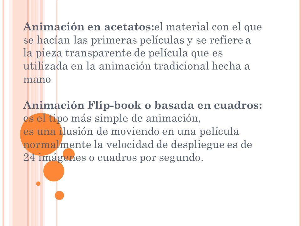 Animación en acetatos: el material con el que se hacían las primeras películas y se refiere a la pieza transparente de película que es utilizada en la