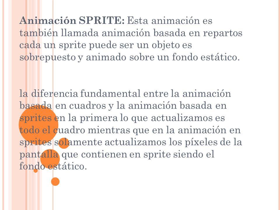 Animación SPRITE: Esta animación es también llamada animación basada en repartos cada un sprite puede ser un objeto es sobrepuesto y animado sobre un