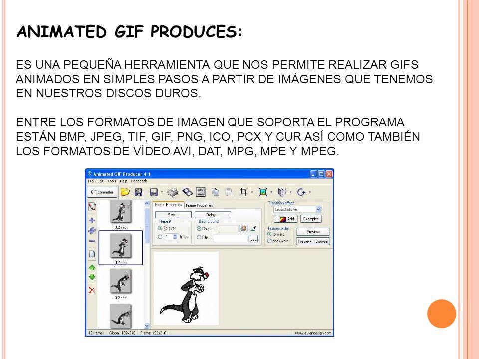 ANIMATED GIF PRODUCES: ES UNA PEQUEÑA HERRAMIENTA QUE NOS PERMITE REALIZAR GIFS ANIMADOS EN SIMPLES PASOS A PARTIR DE IMÁGENES QUE TENEMOS EN NUESTROS