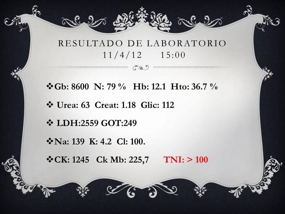 RESULTADO DE LABORATORIO 11/4/12 15:00 Gb: 8600 N: 79 % Hb: 12.1 Hto: 36.7 % Urea: 63 Creat: 1.18 Glic: 112 LDH:2559 GOT:249 Na: 139 K: 4.2 Cl: 100. C