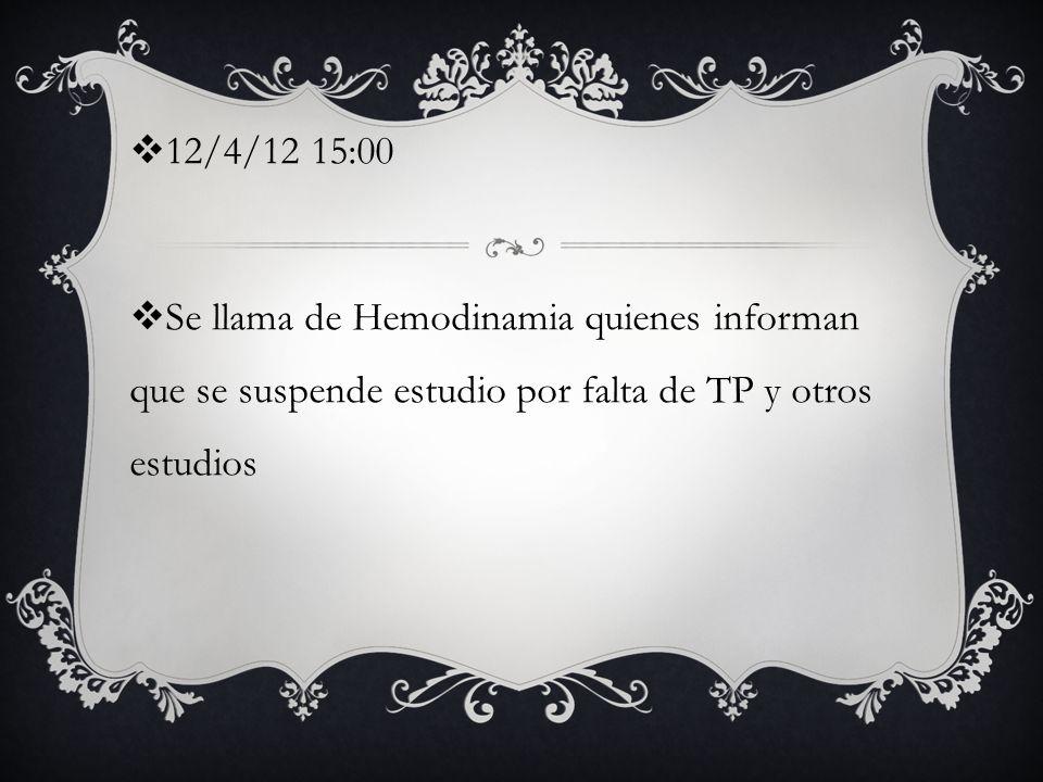 12/4/12 15:00 Se llama de Hemodinamia quienes informan que se suspende estudio por falta de TP y otros estudios