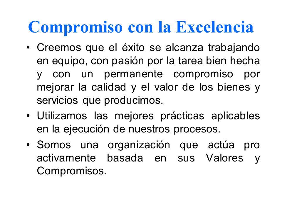 Compromiso con la Excelencia Creemos que el éxito se alcanza trabajando en equipo, con pasión por la tarea bien hecha y con un permanente compromiso p
