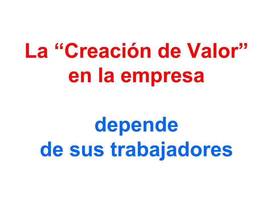 La Creación de Valor en la empresa depende de sus trabajadores