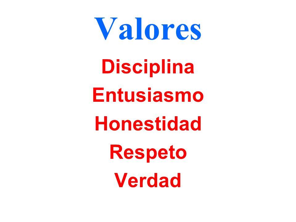 Valores Disciplina Entusiasmo Honestidad Respeto Verdad