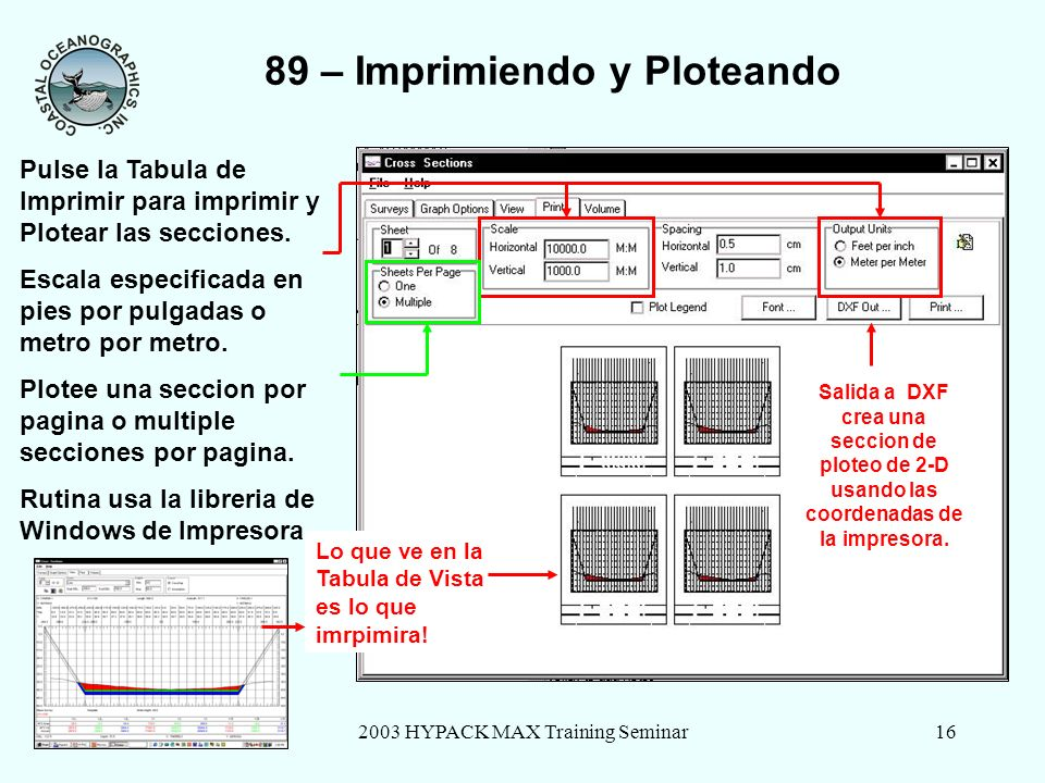 2003 HYPACK MAX Training Seminar16 Sample Tin Model 66 89 – Imprimiendo y Ploteando Pulse la Tabula de Imprimir para imprimir y Plotear las secciones.