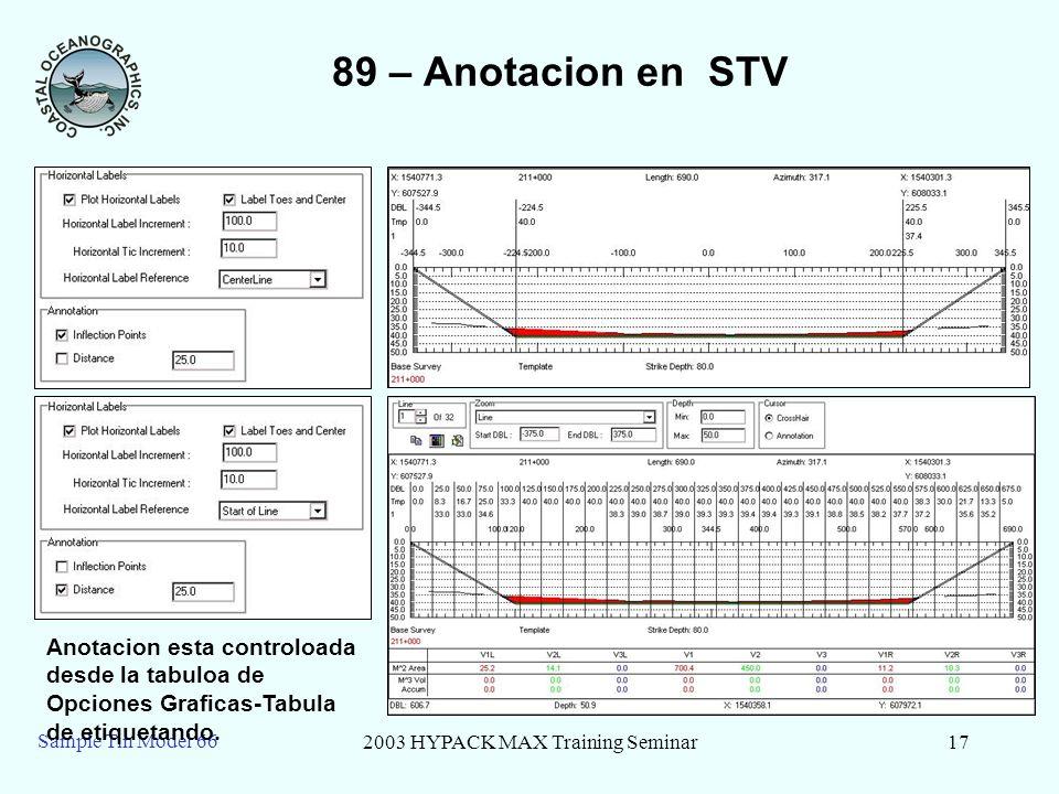 2003 HYPACK MAX Training Seminar17 Sample Tin Model 66 89 – Anotacion en STV Anotacion esta controloada desde la tabuloa de Opciones Graficas-Tabula d