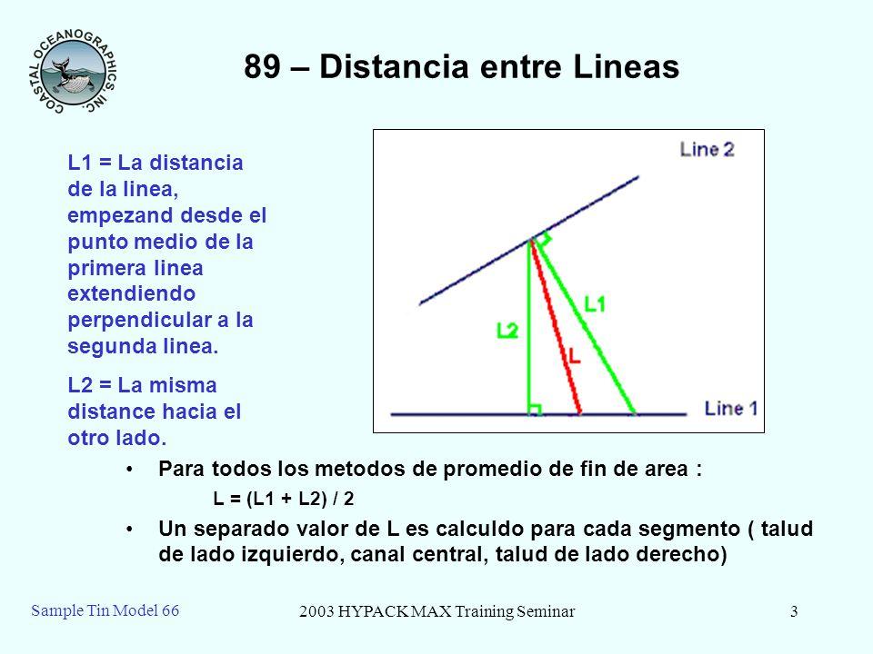 2003 HYPACK MAX Training Seminar3 Sample Tin Model 66 89 – Distancia entre Lineas Para todos los metodos de promedio de fin de area : L = (L1 + L2) /