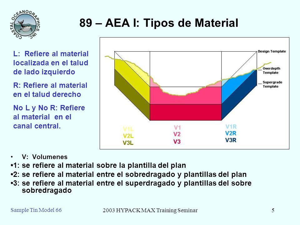 2003 HYPACK MAX Training Seminar5 Sample Tin Model 66 89 – AEA I: Tipos de Material V: Volumenes 1: se refiere al material sobre la plantilla del plan
