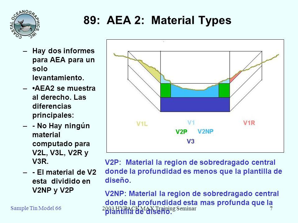 2003 HYPACK MAX Training Seminar7 Sample Tin Model 66 89: AEA 2: Material Types –Hay dos informes para AEA para un solo levantamiento. –AEA2 se muestr