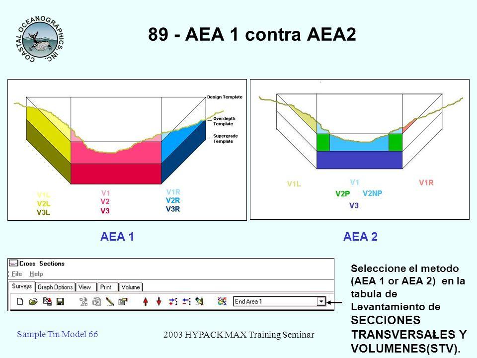 2003 HYPACK MAX Training Seminar8 Sample Tin Model 66 89 - AEA 1 contra AEA2 AEA 1 AEA 2 Seleccione el metodo (AEA 1 or AEA 2) en la tabula de Levanta