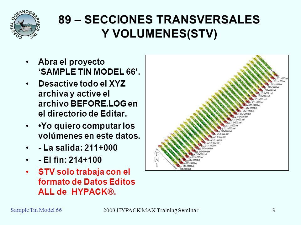 2003 HYPACK MAX Training Seminar10 Sample Tin Model 66 89 – Inicar STV Seleccione el boton de STV o seleccione el menu de Products Finales– SECCIONES TRANSVERSALES Y VOLUMENES.