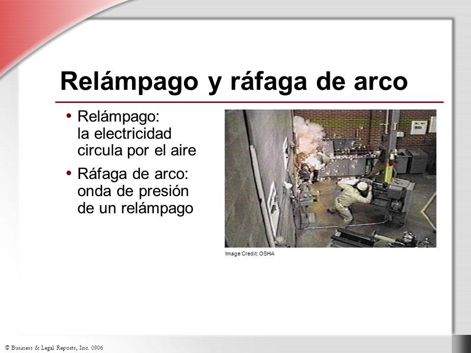 © Business & Legal Reports, Inc. 0906 Relámpago: la electricidad circula por el aire Ráfaga de arco: onda de presión de un relámpago Relámpago: la ele