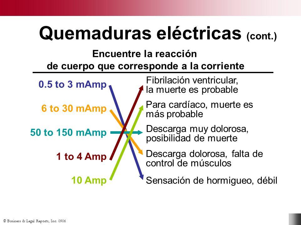 © Business & Legal Reports, Inc. 0906 Quemaduras eléctricas (cont.) Encuentre la reacción de cuerpo que corresponde a la corriente 0.5 to 3 mAmp 6 to