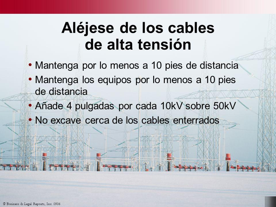 © Business & Legal Reports, Inc. 0906 Aléjese de los cables de alta tensión Mantenga por lo menos a 10 pies de distancia Mantenga los equipos por lo m