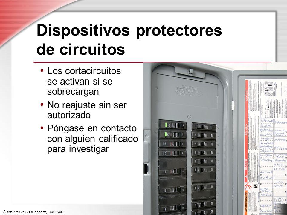 © Business & Legal Reports, Inc. 0906 Dispositivos protectores de circuitos Los cortacircuitos se activan si se sobrecargan No reajuste sin ser autori