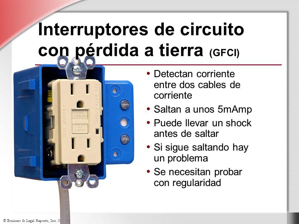 © Business & Legal Reports, Inc. 0906 Detectan corriente entre dos cables de corriente Saltan a unos 5mAmp Puede llevar un shock antes de saltar Si si