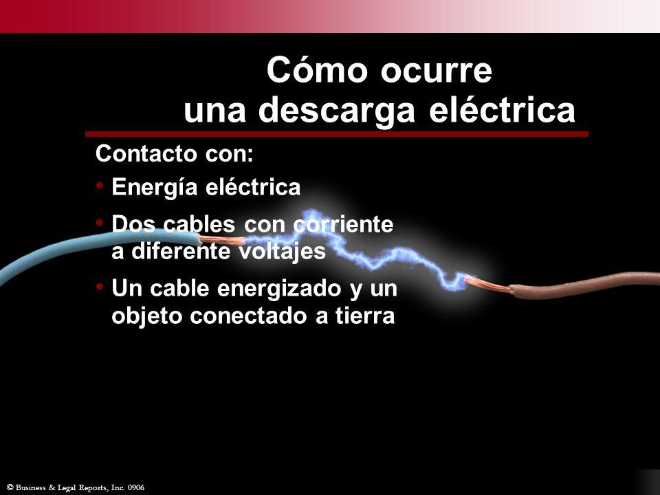 Cómo ocurre una descarga eléctrica © Business & Legal Reports, Inc. 0906 Contacto con: Energía eléctrica Dos cables con corriente a diferente voltajes