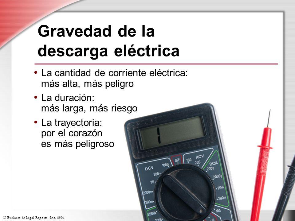 © Business & Legal Reports, Inc. 0906 Gravedad de la descarga eléctrica La cantidad de corriente eléctrica: más alta, más peligro La duración: más lar