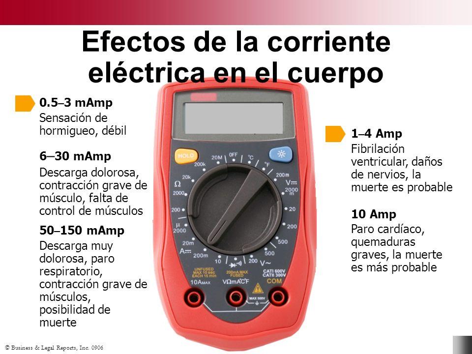© Business & Legal Reports, Inc. 0906 Efectos de la corriente eléctrica en el cuerpo 0.5 – 3 mAmp Sensación de hormigueo, débil 50 – 150 mAmp Descarga